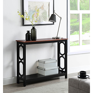 Omega Cherry Top Console Table with Black Frame