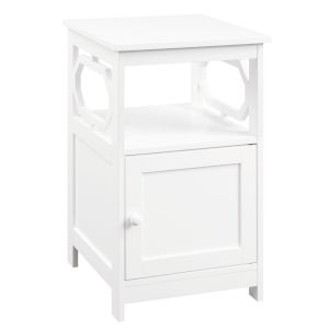 Omega White End Table with Cabinet