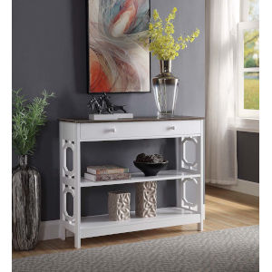 Omega Driftwood and White 12-Inch Single Drawer Console Table