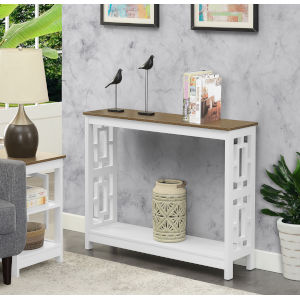 Town Square Driftwood and White Console Table with Shelf