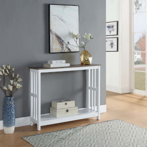 Mission Driftwood White Accent Console Table
