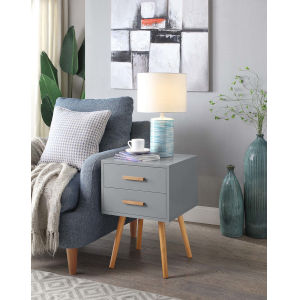 Oslo Gray Two Drawer End Table