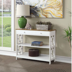 Town Square Driftwood White Accent Console Table