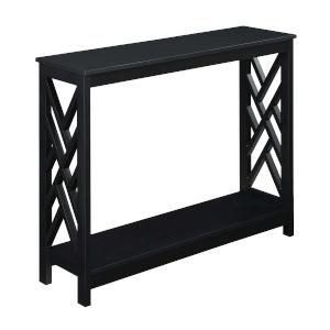 Titan Black Console Table with Shelf