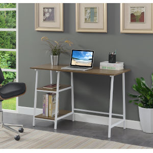 Design2Go Driftwood and White Wood Metal Desk