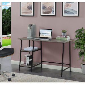 Design2Go Weathered Gray and Black Wood Metal Desk