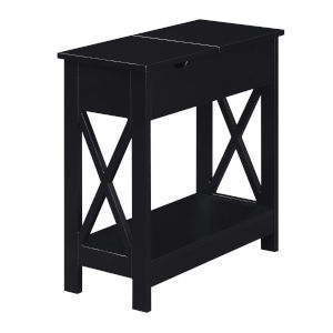 Oxford Black Flip Top End Table with Charging Station