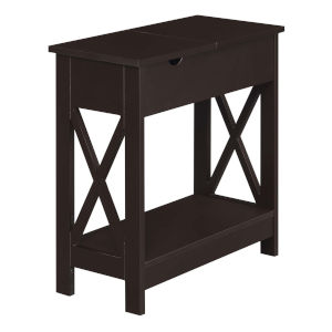 Oxford Espresso Flip Top End Table with Charging Station