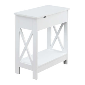 Oxford White Flip Top End Table with Charging Station