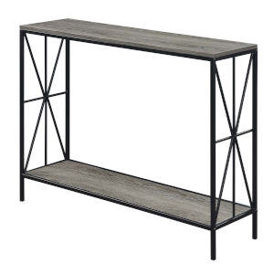 Tucson Weathered Gray and Black Starburst Console Table