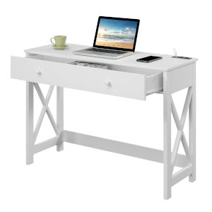 Oxford White Desk with Charging Station