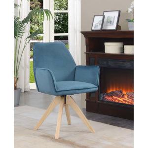Miranda Velvet Blue Natural Wood Accent Chair