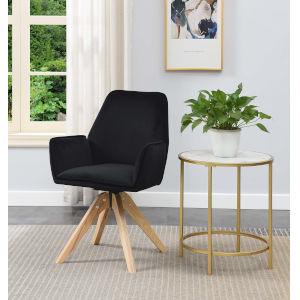 Miranda Velvet Black Natural Wood Accent Chair