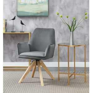 Miranda Velvet Gray Natural Wood Accent Chair