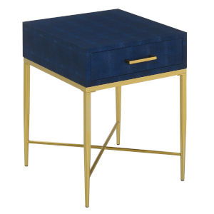 Ashley Blue and Gold 24-Inch  End Table