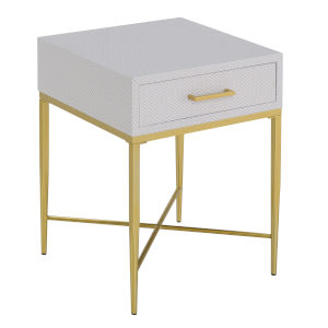 Ashley White Scallop and Gold 24-Inch End Table