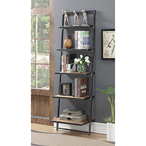Laredo Black Five Tier Ladder Bookshelf