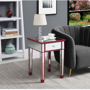 Gold Coast Cranberry Red with Mirror 18-Inch End Table with Drawer