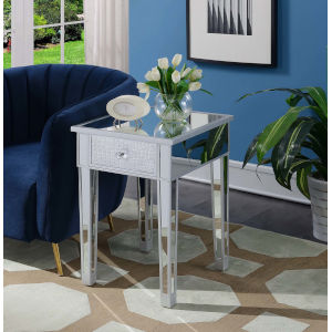 Gold Coast Silver Faux Croc Mirrored End Table with Drawer