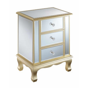 Gold Coast Champagne Mirror Vineyard Three-Drawer Mirrored End Table