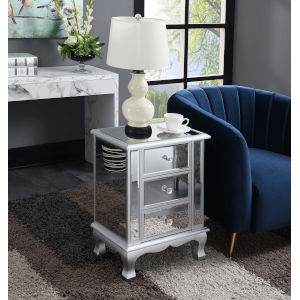 Gold Coast Silver with Mirror 12-Inch Three Drawer Mirrored End Table