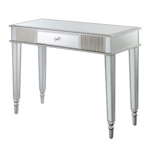 French Country Silver Mirrored Desk with One Drawer