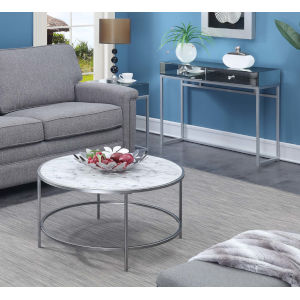 Gold Coast White and Silver Round Coffee Table