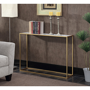 Gold Coast Faux Marble Console Table