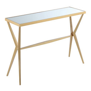 Saturn Gold Powder Coated Metal Console Table with Mirror Top