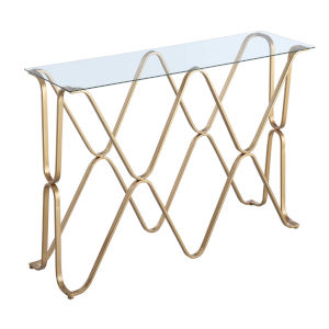 Neptune Gold Console Table with Clear Glass