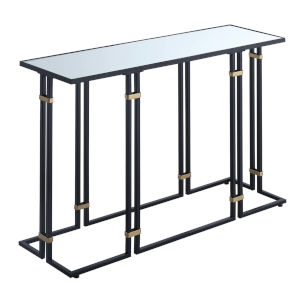 Mercury Black Powder Coated Metal Console Table with Mirror Top