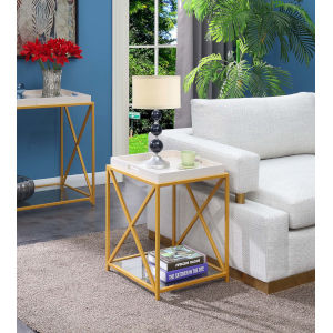 St. Andrews White and Gold 18-Inch End Table