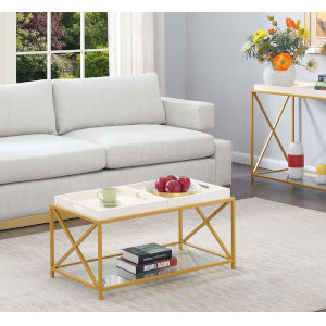 St. Andrews White and Gold 18-Inch Coffee Table