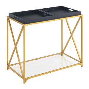 St. Andrews Black Gold Powder Coated Metal Console Table