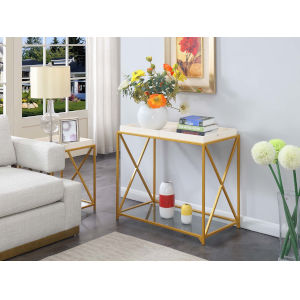 St. Andrews White and Gold 18-Inch Console Table