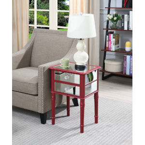 Gold Coast Cranberry Red with Mirror 14-Inch Mayfair End Table