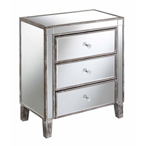 Gold Coast Large 3 Drawer Mirrored End Table in Weathered Grey
