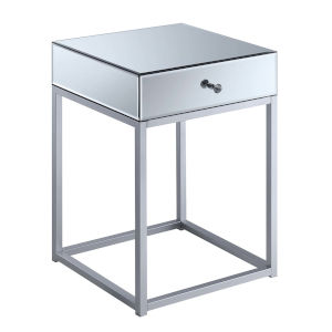Reflections Silver MDF End Table with Mirror Top
