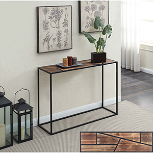 Wyoming Geo Wood Top Console Table with Black Frame