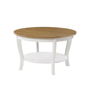 American Heritage Driftwood and White Round Coffee Table