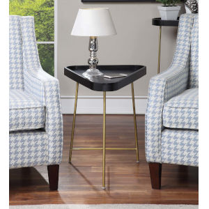 Lunar Black and Gold Triangle End Table