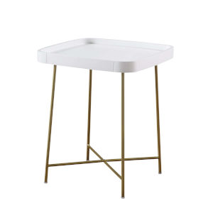 Lunar White and Gold End Table