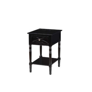 Country Oxford Black 25-Inch End Table with Charging Station