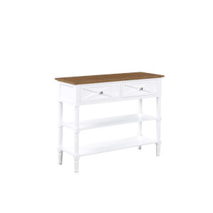 Country Oxford Driftwood and White 30-Inch Two Drawer Console Table