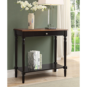 French Country Dark Walnut Hall Table with Drawer and Shelf