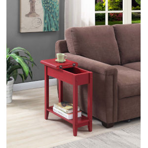 American Heritage Cranberry Red Flip Top End Table