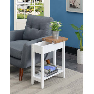 American Heritage Driftwood White 11-Inch Flip Top End Table