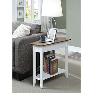 American Heritage Brown Wedge End Table with White Frame