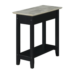 American Heritage Faux Birch and Black Flip Top End Table with Charging Station