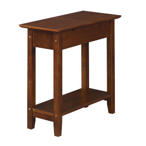 American Heritage Espresso Flip Top End Table with Charging Station